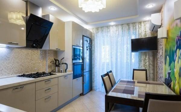 Дизайн кухни 9 кв. м (119 фото): проекты оформления интерьера кухни 9 квадратных метров, особенности планировки помещений с холодильником и балконом, интересные идеи