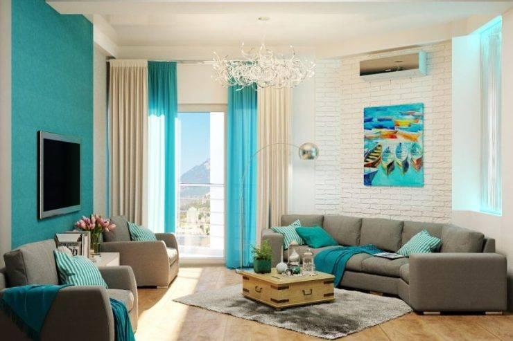 Бирюзовые обои на стенах: особенности дизайна, подбор штор