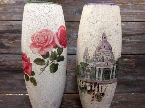 Декупаж вазы (42 фото): декупаж стеклянной вазы в стиле шебби-шик своими руками. как выбрать технику декупажа для керамической вазы для цветов?