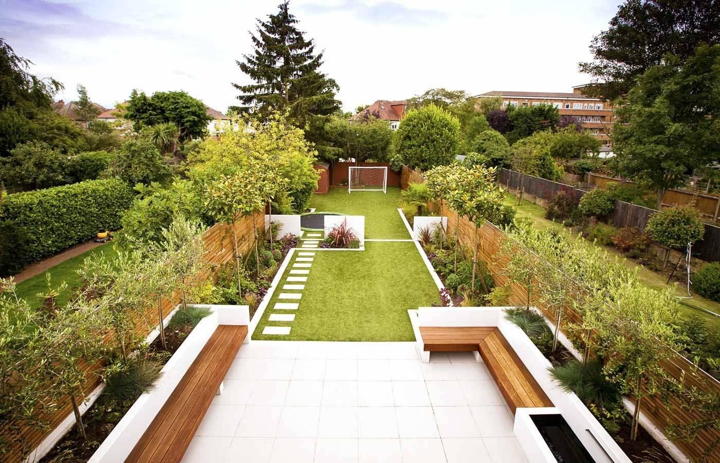 Дизайн узкого участка, зонирование и декорирование - фото примеров