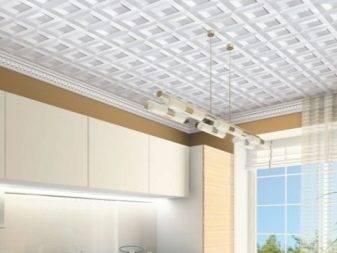 Ламинированная плитка на потолок фото в интерьере, как клеить