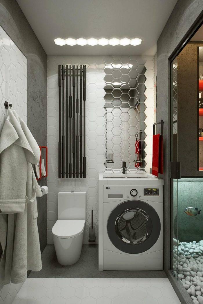 Стиральная машинка в ванной — варианты размещения, правила установки и советы по выбору под дизайн интерьера