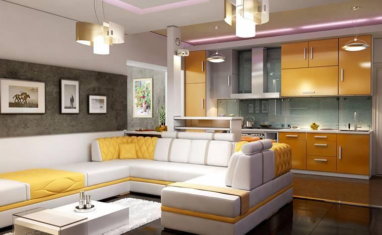 Дизайн кухни - гостиной 30 кв. м. - 125 фото эксклюзивных решений по зонированию