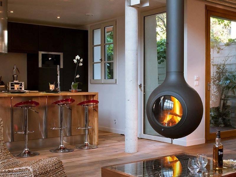 Подвесной камин (39 фото): круглые и квадратные варианты производства россии, устройство дымосборника, способы дизайна