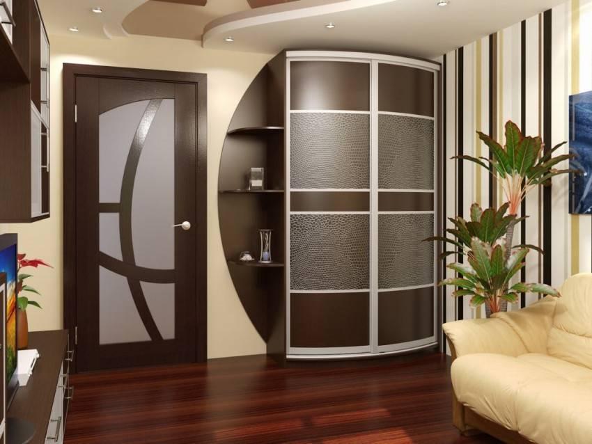 Современные радиусные шкафы в интерьере