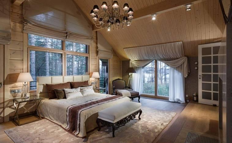 Спальня в деревянном доме (70 фото): дизайн интерьера в бревенчатой даче из бруса
