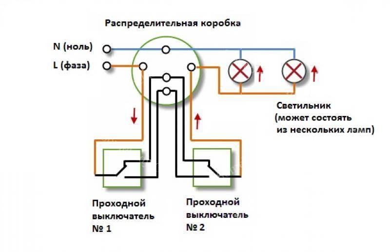 Подключаем проходной выключатель с 2х мест по схеме: последовательность монтажа