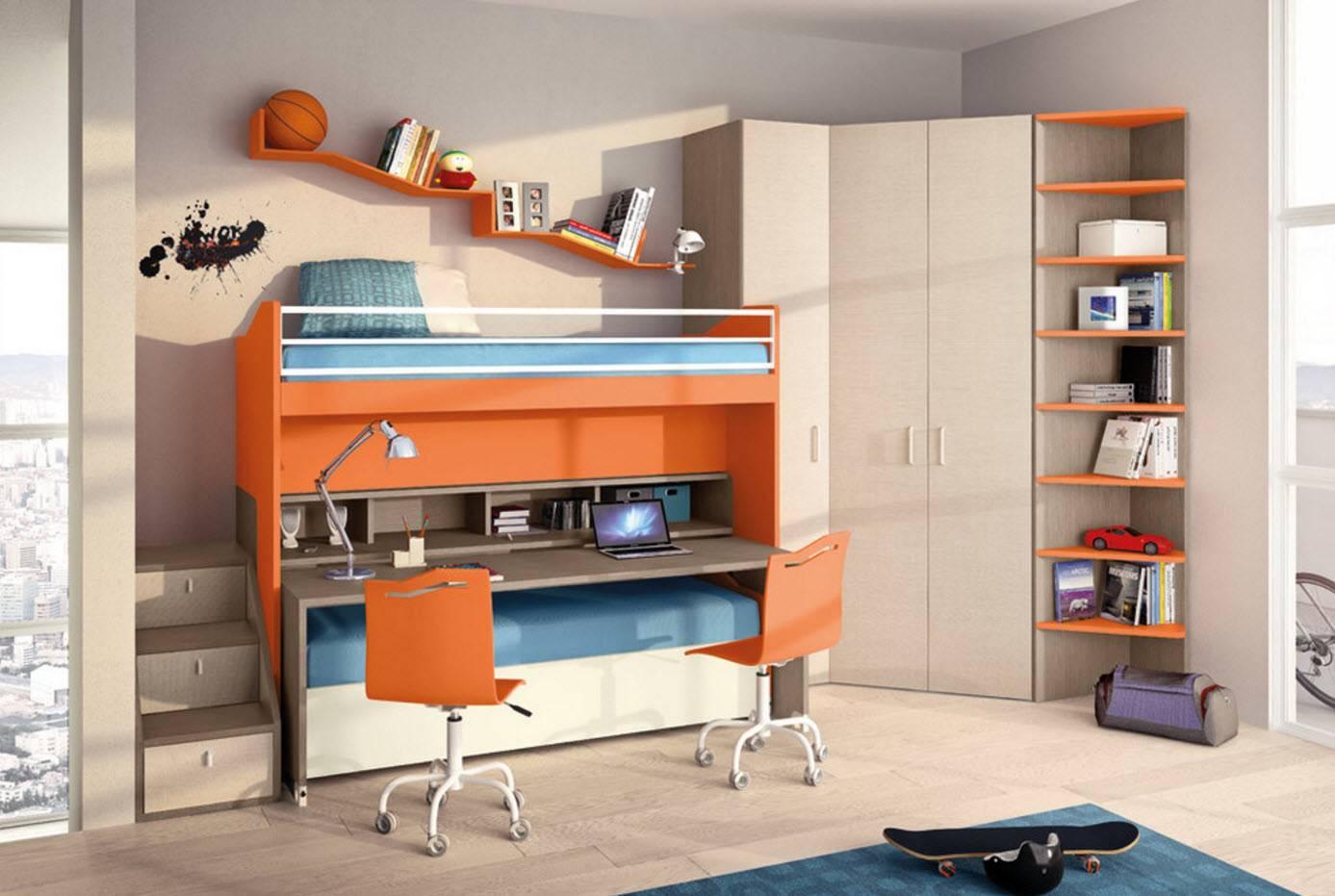 Угловой шкаф в детскую комнату для двоих: размеры и дизайн мебели   дизайн и фото