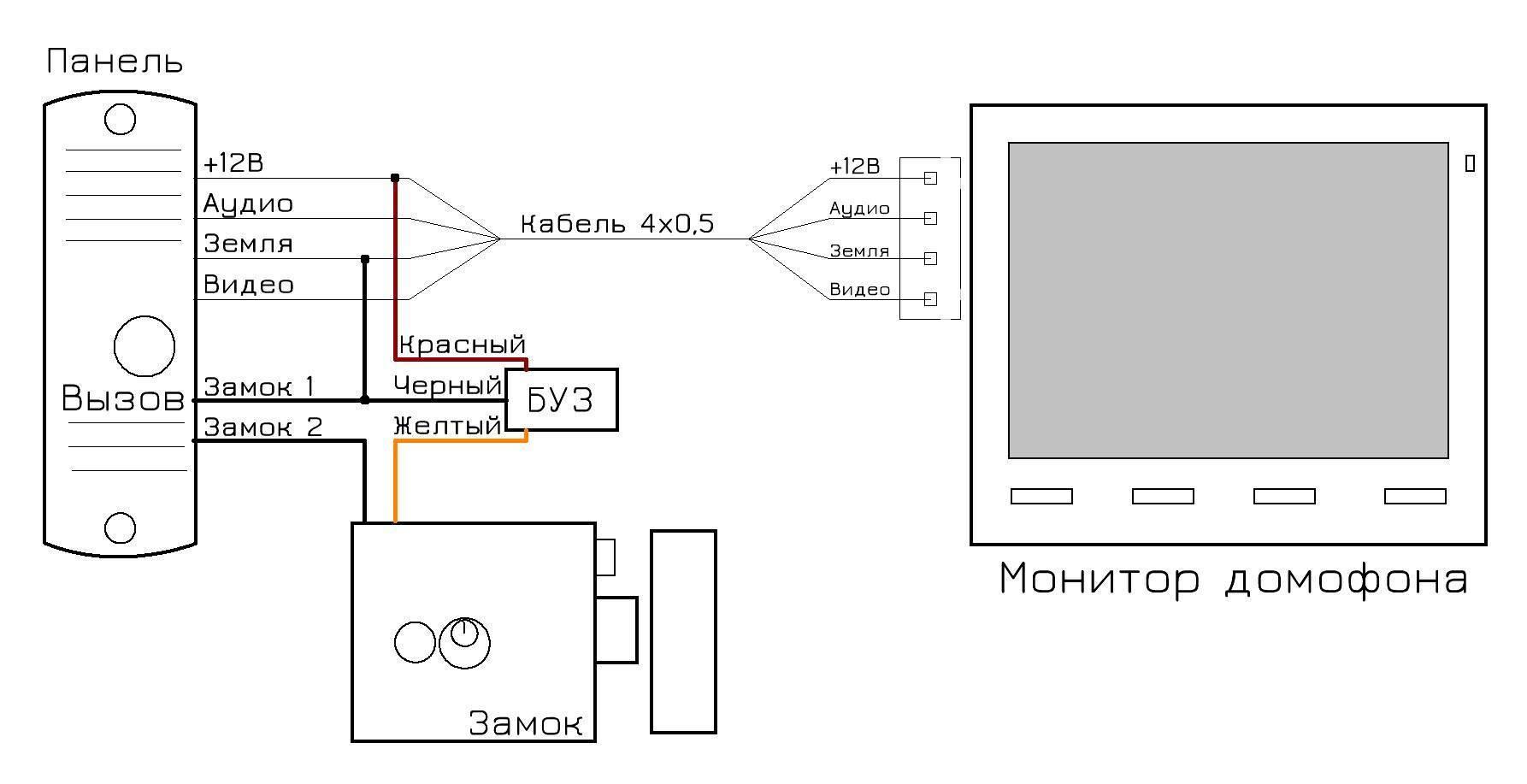 Схема подключения видеодомофона - tokzamer.ru