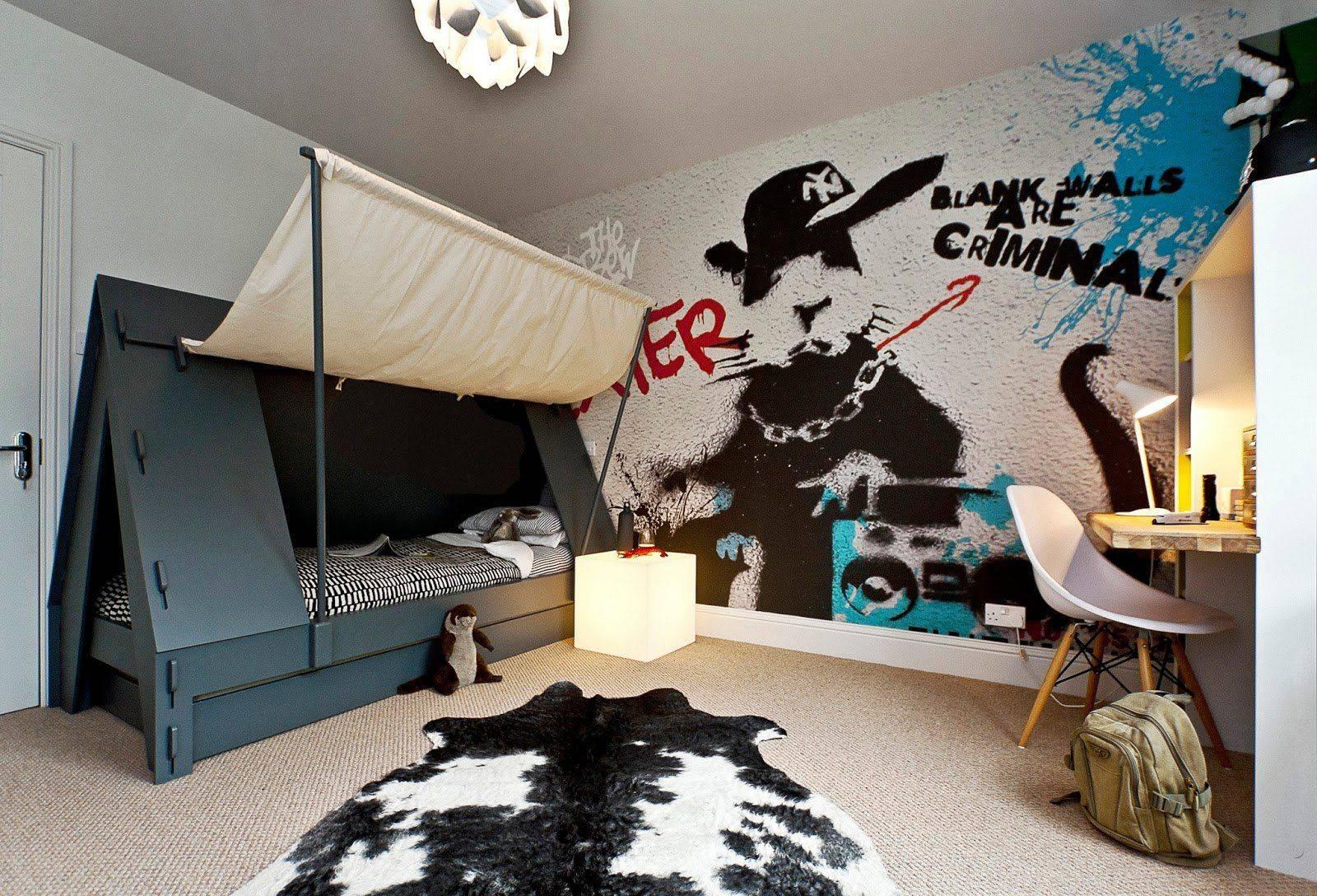 Обои граффити: как выбрать в комнату обои в стиле граффити, модели с рисунком на стену в интерьере квартиры