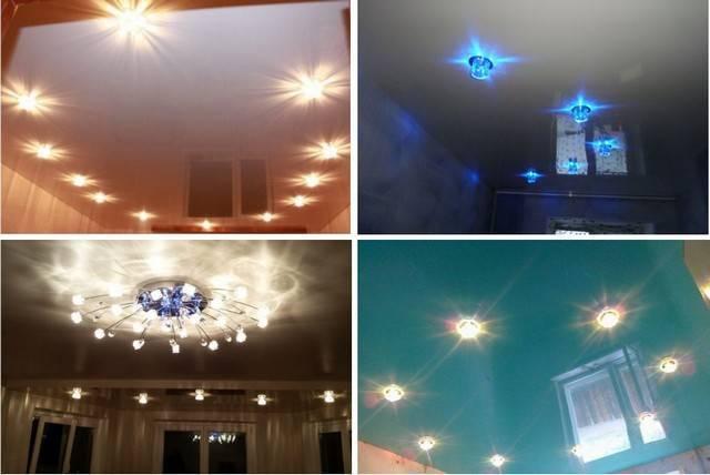 Как лучше расположить точечные светильники на натяжном потолке?