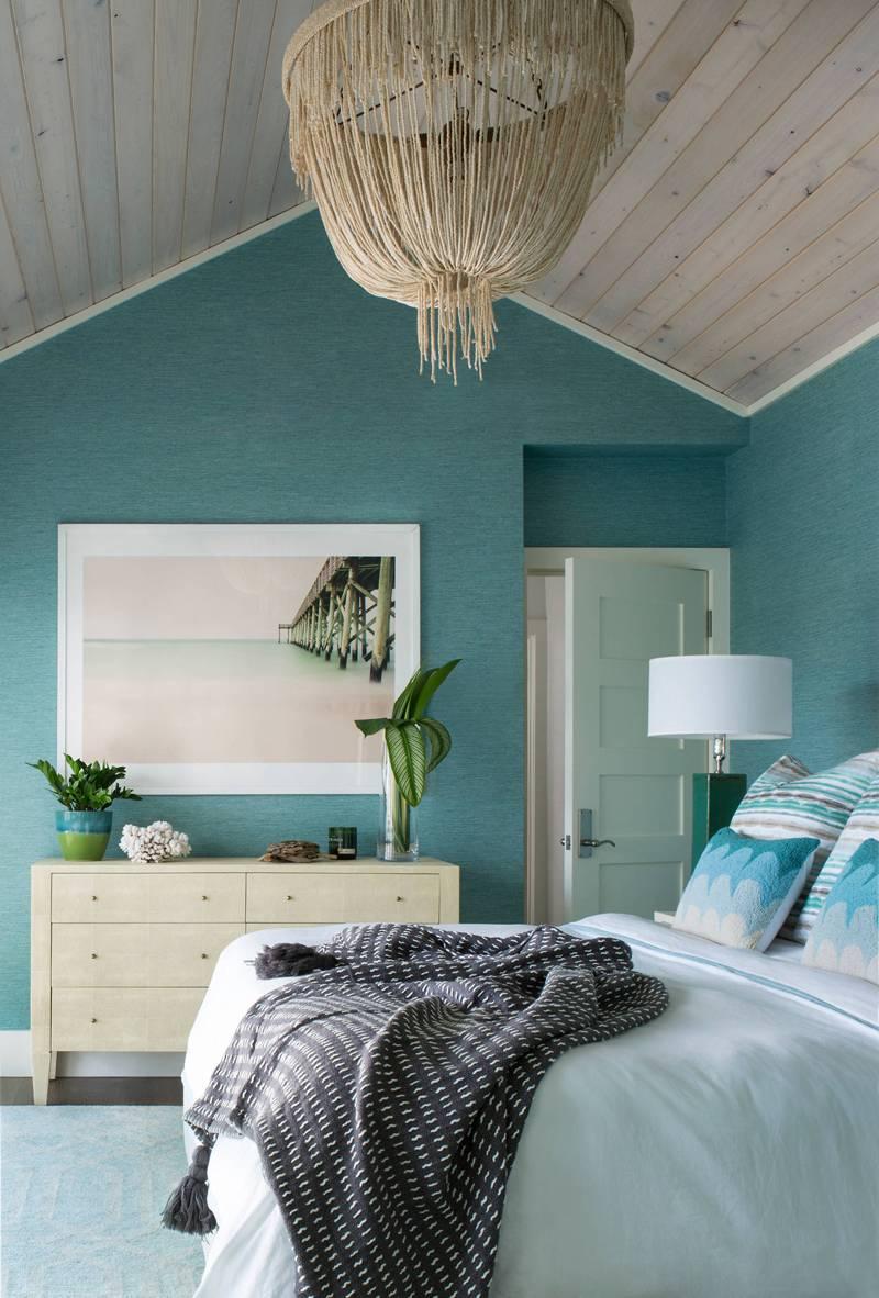 Спальня в бирюзовых тонах, варианты дизайна интерьера, возможные сочетания цветов + фото