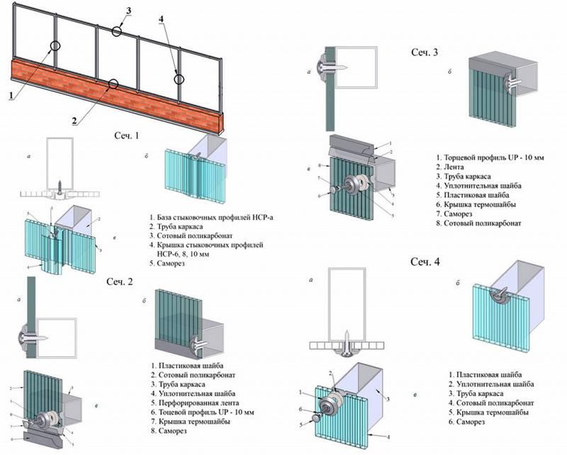 Монтаж сотового поликарбоната: инструкция, на металлический, деревянный каркас, правильный, комплектующие, своими руками, правила, видео, технология