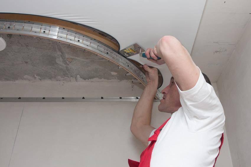 Двухуровневый натяжной потолок своими руками, какой вариант лучше выбрать,как правильно сделать каркас и переход уровня, продумать конструкцию, детали на фото и видео