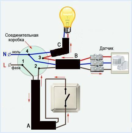 Как подключить датчик движения к прожектору: инструкция и настройка