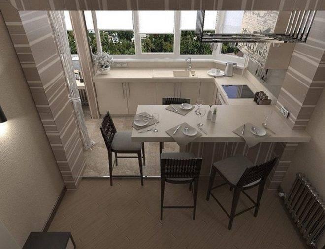 Варианты дизайна маленькой кухни с балконом