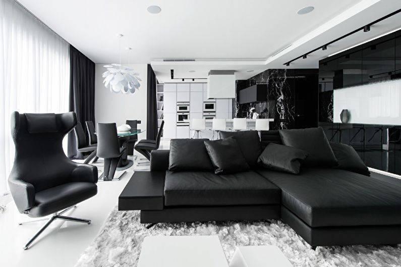 Черно-белый интерьер: лучшие варианты, особенности оформления и сочетания с другими цветами