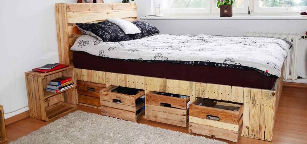 Кровать из поддонов своими руками: пошагово фото, как сделать кровать из паллетов с подсветкой, технология, варианты декорирования