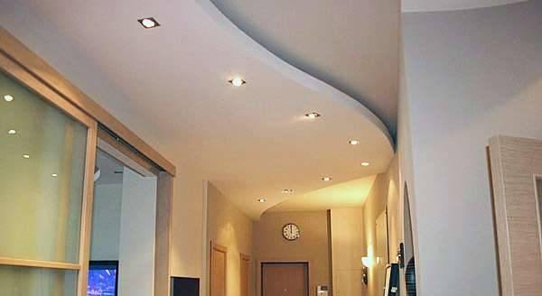 Двухуровневые натяжные потолки (100 фото)