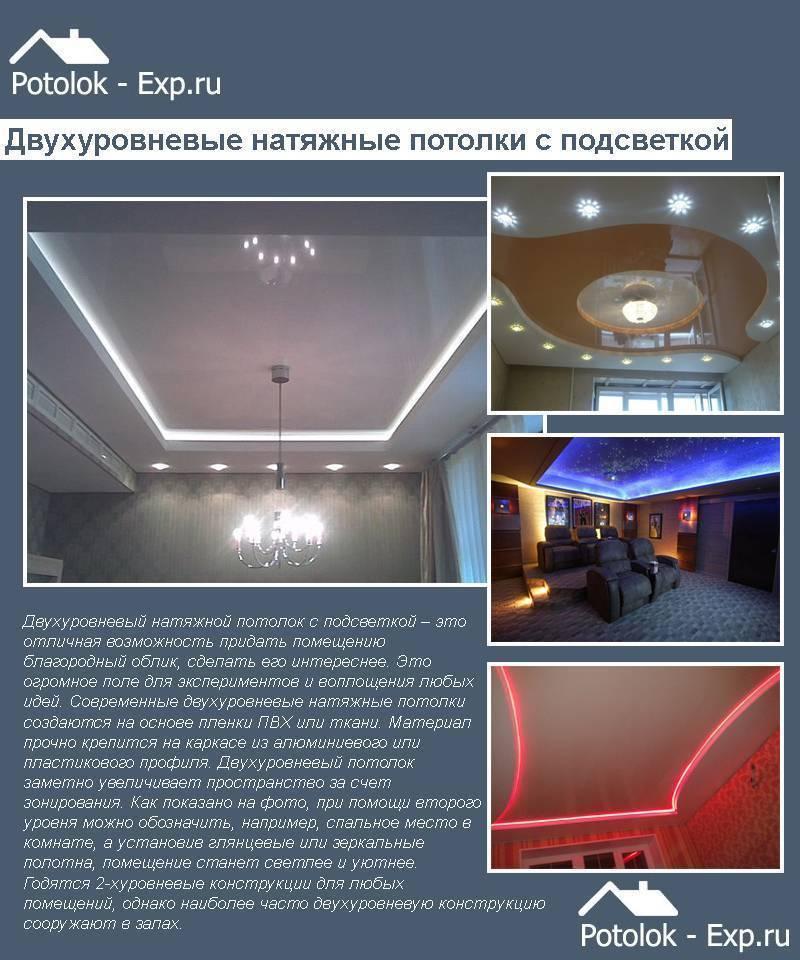 Двухуровневый потолок своими руками: как сделать из гипсокартона, в том числе с подсветкой, можно ли натяжной, а также инструкция, схемы разметки, фото, дизайн