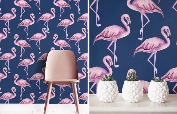 Необычные обои с фламинго в интерьере
