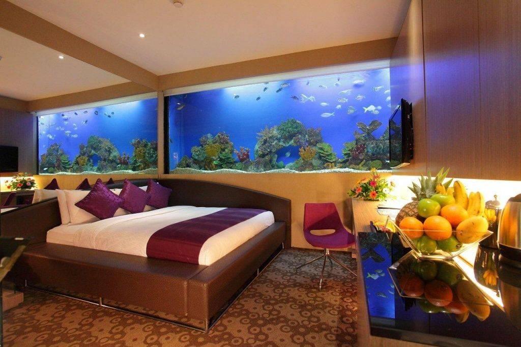 Встроенный аквариум (в стену, пол, мебель) - 40 фото примеров