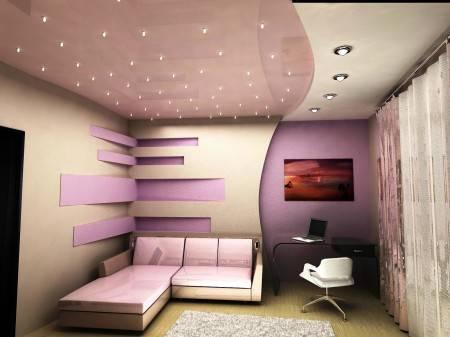 Двухцветные одноуровневые натяжные потолки: фото и дизайн