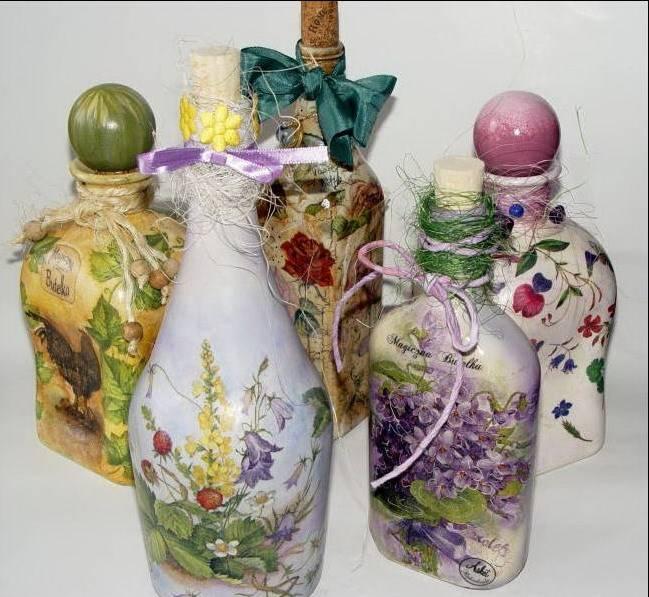 Декорирование бутылок своими руками и подручными средствами, мастер класс, фото дизайнов