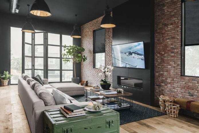 Гостиная с камином и телевизором, как уместить два главных элемента