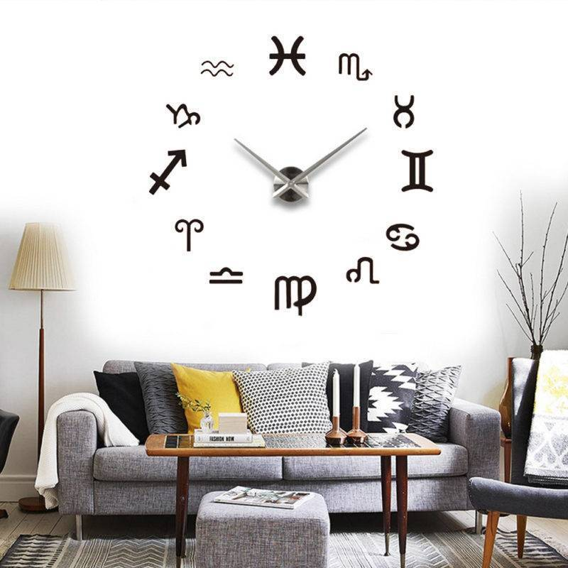 Большие часы в интерьере: 75 лучших примеров с фото