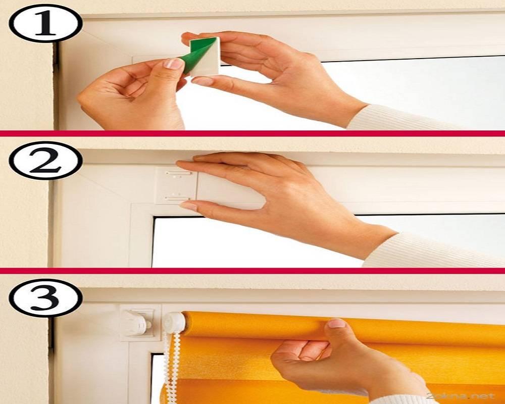 Жалюзи на пластиковые окна без сверления: установка, как повесить и крепить
