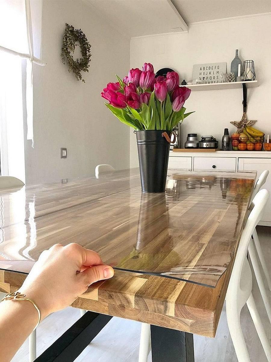 Жидкое стекло на стол – силиконовая прозрачная скатерть
