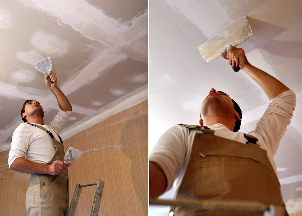 Шпаклевка потолка: как правильно шпаклевать своими руками под покраску, какой состав лучше