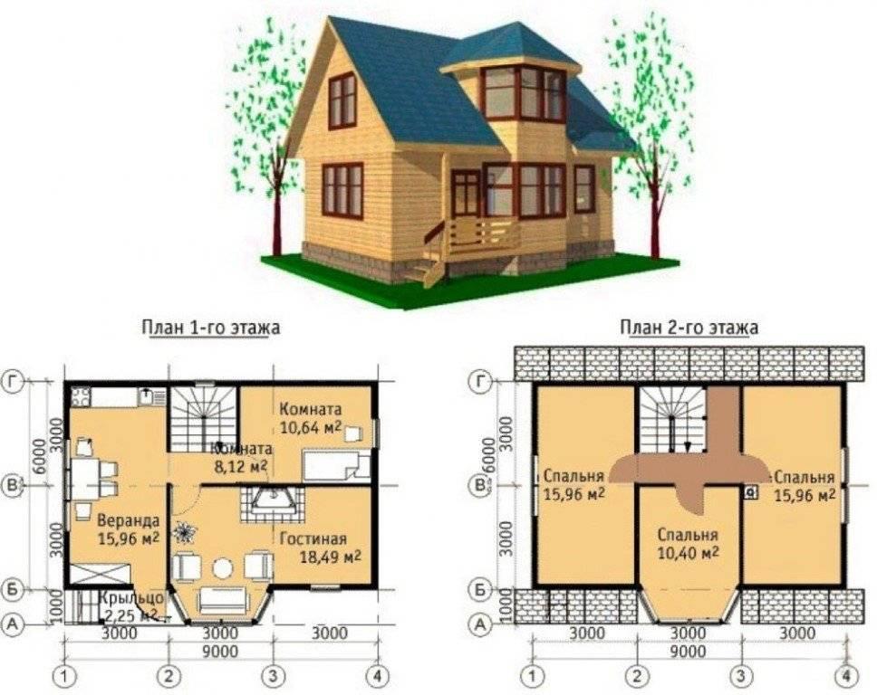 Каркасный дом 6 на 6 – особенности планировки и фото