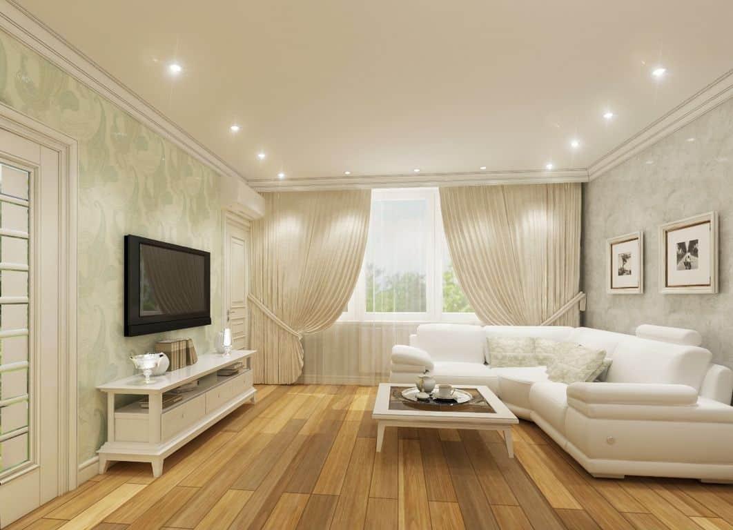 Двухцветные натяжные потолки: виды, сочетания, дизайн, формы спаек двух цветов, фото в интерьере