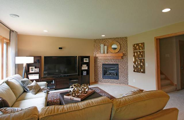 Камины в гостиной в городской квартире — фото интерьеров