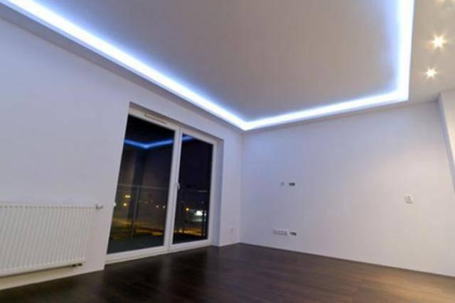 Парящий натяжной потолок: 60+ фото, идеи с подсветкой по периметру, линиями