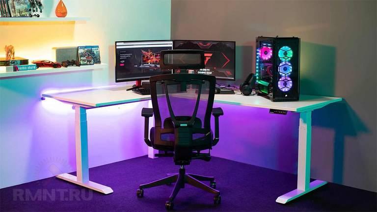 Игровой стол для компьютера: угловая геймерская компьютерная модель больших размеров