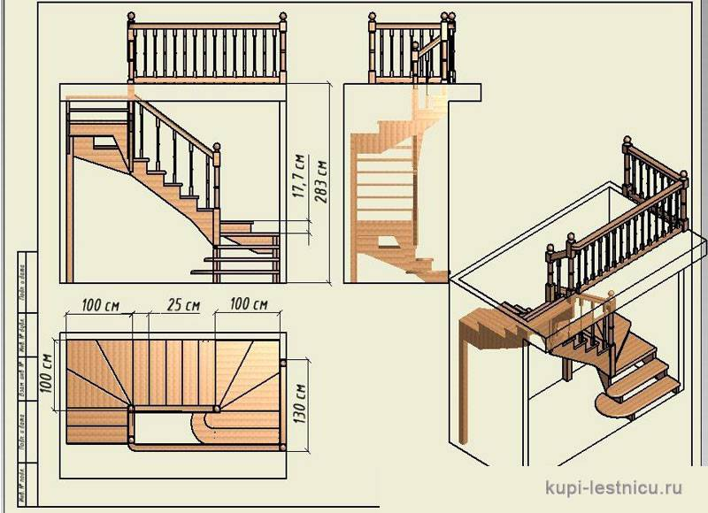 Расчёт лестницы с забежными ступенями на 180