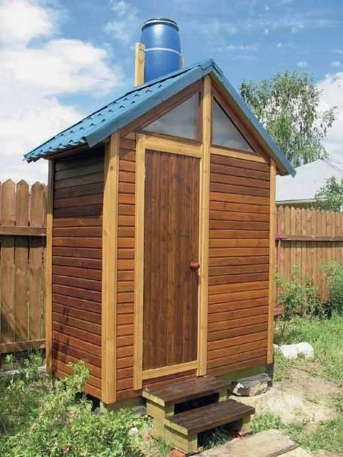 Дачный душ с подогревом: бак или бочка для воды, емкости для летнего душа, деревянный вариант с раздевалкой для дачи своими руками