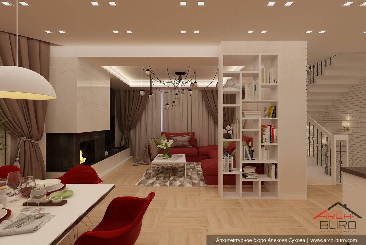 Дизайн гостиной с камином в частном доме