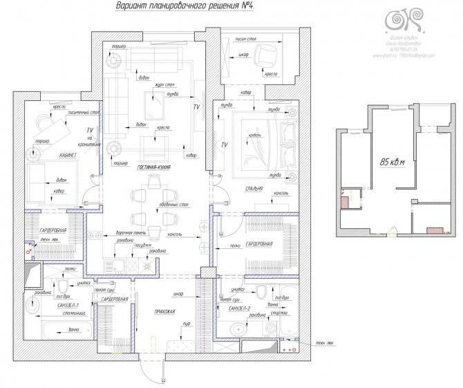 Планировка 4-комнатной квартиры: проекты 4-х комнатной квартиры с улучшенной планировкой в новостройке и панельном доме