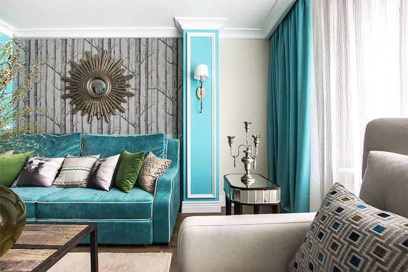 Диваны бирюзового цвета (72 фото): угловой и раскладной в интерьере. какие шторы подойдут? дизайн комнаты с диваном-кроватью цвета бирюзы