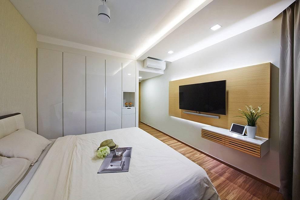 Телевизор в спальне (45 фото): высота размещения телевизора на стене, советы по установке и дизайну, варианты размещения