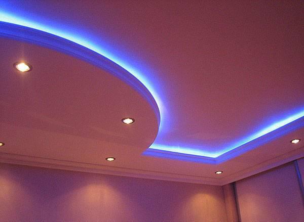 Подсветка натяжного потолка светодиодной лентой: особенности монтажа