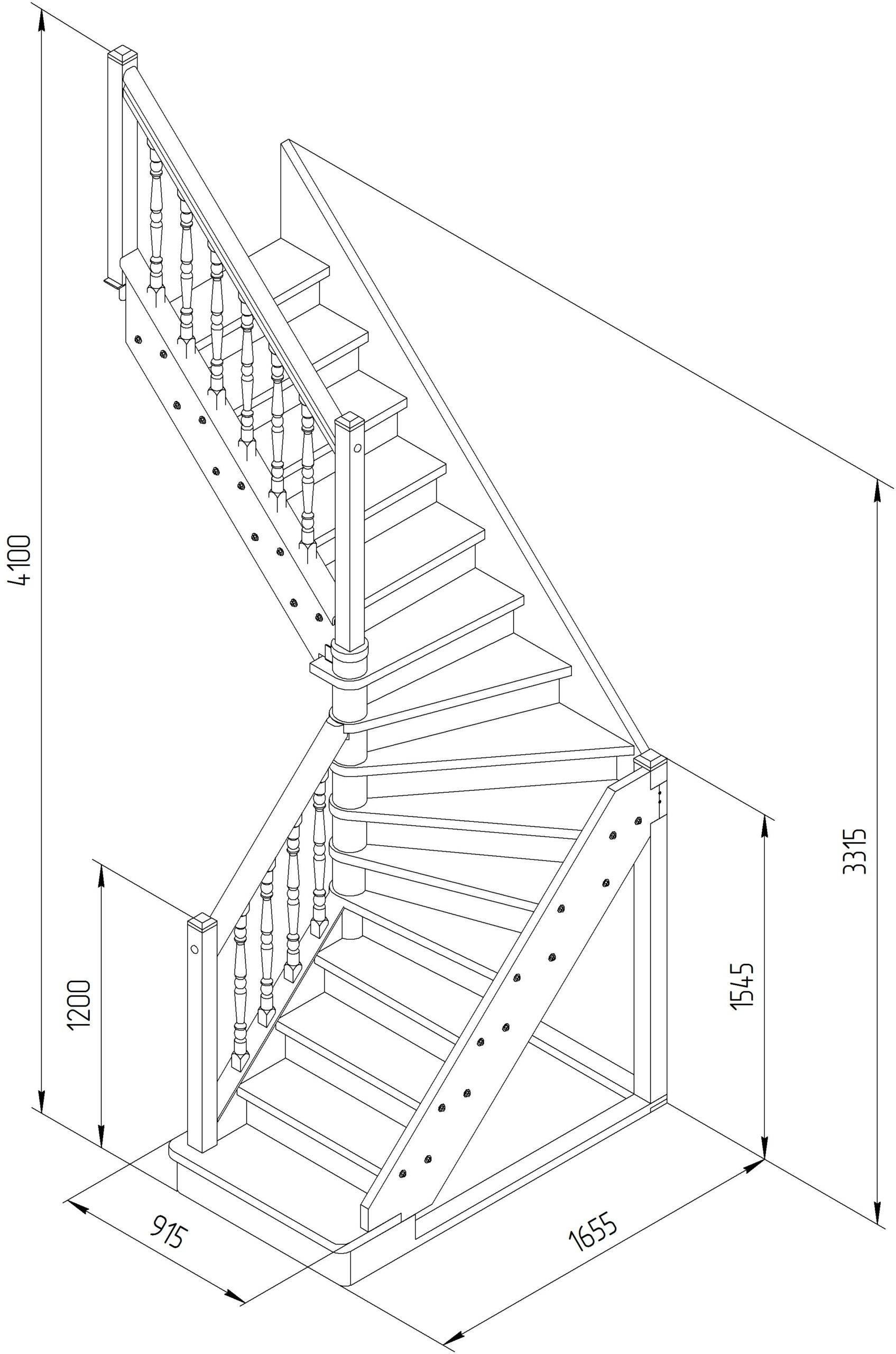 Забежная лестница или лестница с забежными ступенями- расчеты и монтаж своими руками
