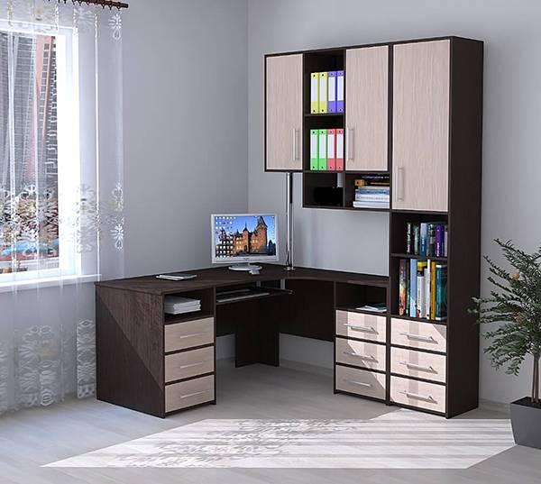 Компьютерный стол со шкафом (72 фото): трансформер с полками, угловой для компьютера, модель со шкафом для одежды