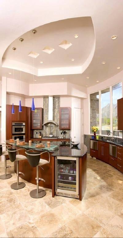 Дизайн двухуровневого потолка из гипсокартона для кухни: 12 фото