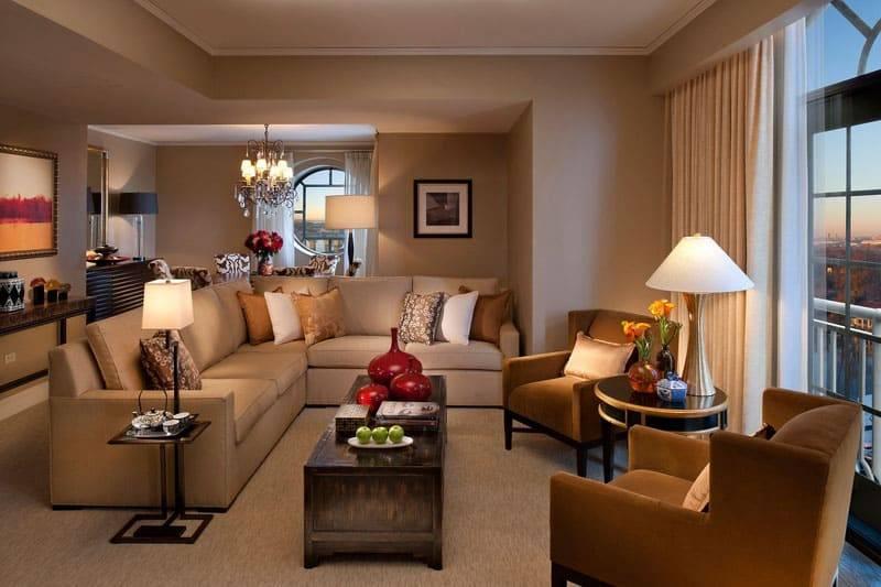 Бежевая гостиная: тонкости отделки и оформления