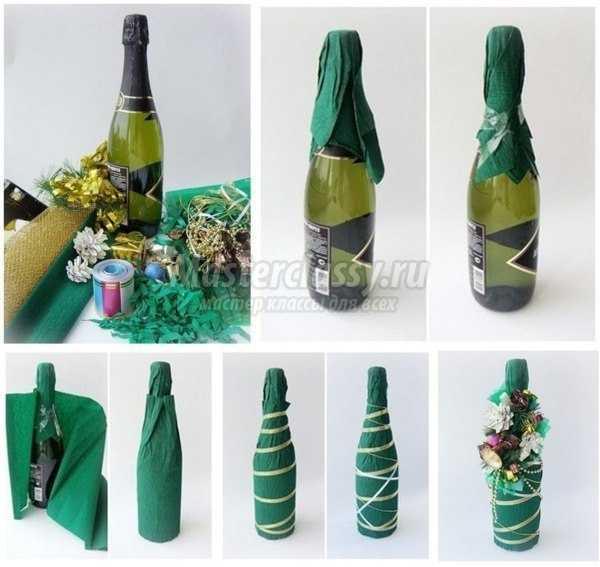 Декупаж новогодних бутылок шампанского салфетками: 5 мастер-классов с фото и видео
